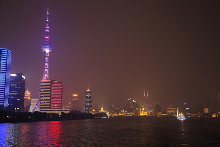 a nocturne: Lujiazui Financial District in Shanghai Editorial