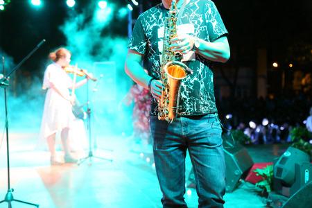 Saxofoonshow Stockfoto