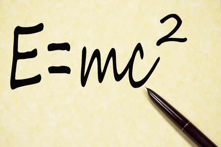 The mass energy formula write on paper Stock Photo