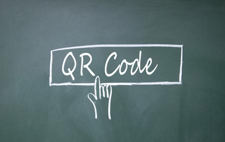 finger click QR code symbol on blackboard