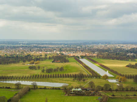 Aerial view of Hampton Court Palace, and the Royal Paddocks, London, UK Editorial