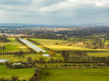 Aerial view of Hampton Court Palace, and the Royal Paddocks, London, UK Stock Photo