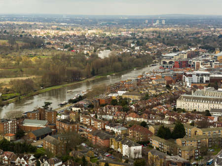 Aerial view of Kingsdon Upon Thames, London, UK Stock Photo