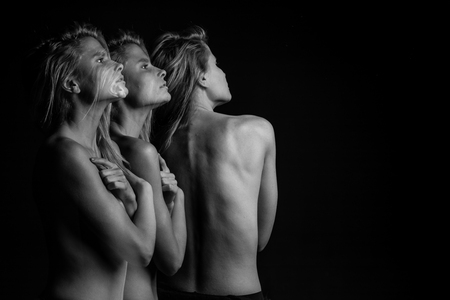 creative dreamy woman portrait. Deep emotions. Strange beauty mood. Profile and back. triple Multiple exposure black and white photo