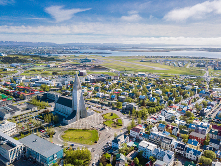 Reykjavik city scape frop the top with Hallgrimskirkja church. Aerial photo. religious building