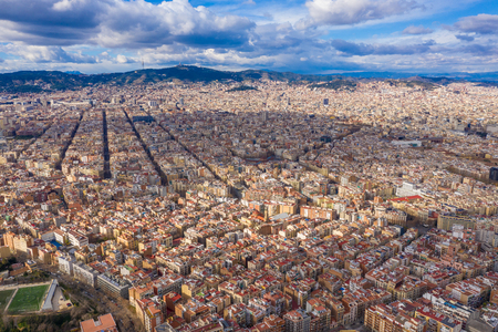 Barcelona cityline panoramic aerial view to the city from Montjuic Castle hill 版權商用圖片