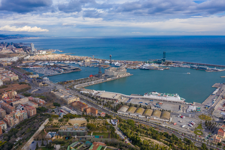 Aerial Barcelona view. Port Barceloneta city and sky. View from above panoramic Stock Photo