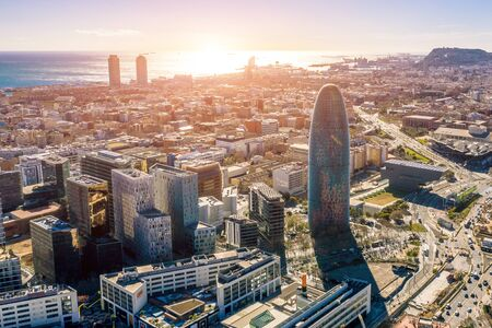 Aerial view of technological district of Barcelona, Catalonia, Spain. Torre Glòries Torre Agbar . Summer time