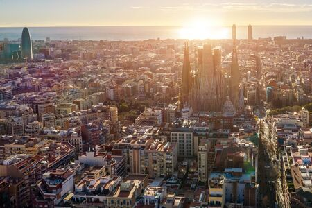 Barcelona Spain. Aerial view. Church of the Holy Family. City panorama.