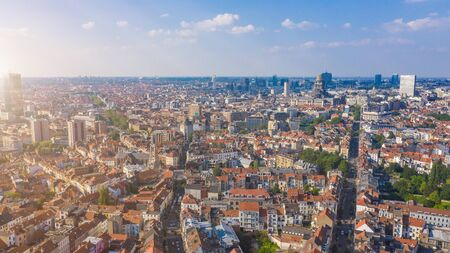 Aerial top view streets of Brussels Saint-Gilles, Belgium. Sunny day