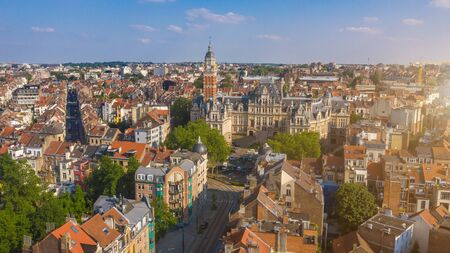 The city hall of Saint Gilles, Brussels. The houses of the hamlet of Obbrussel. Aerial photo 免版税图像