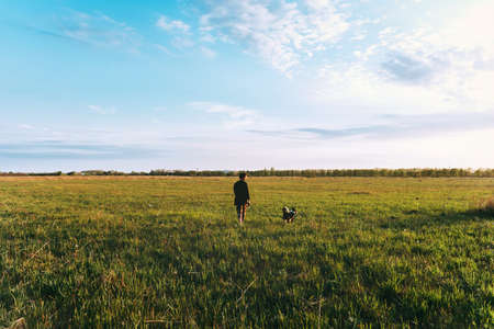 Young woman walks with a dog on a green field at sunset Beautiful blue sky