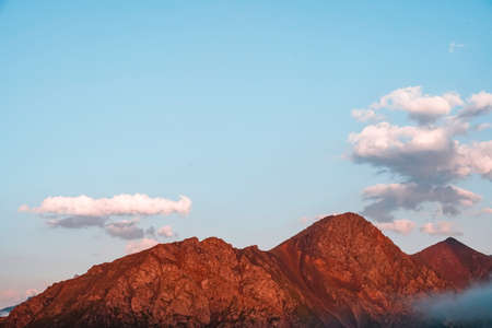 Red Mountains cliffs of the North Caucasus at sunset