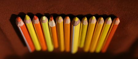 sharpened: Spectrum of round colored wood pencils Stock Photo