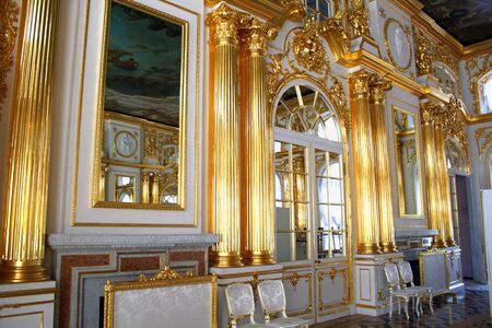 tripping: Katherines Palace hall in Tsarskoe Selo (Pushkin), Russia. My other pictures of Saint Petersburg. Stock Photo