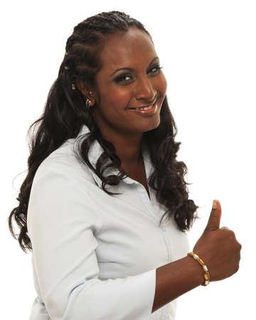 thumbsup: Happy ethnic woman giving thumbs-up