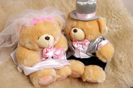 wedding couple bear with love photo