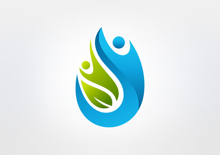 fitness center: Natural abstract human body healthy success icon design.