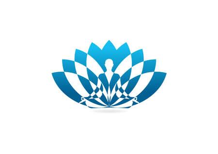 wellness environment: Lotus yoga icon design template.