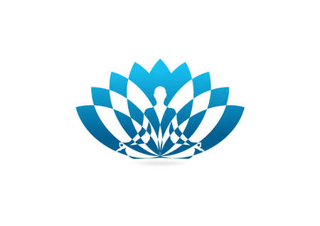 Lotus yoga icon design template.