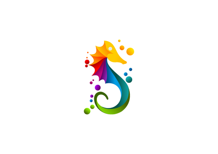 Seahorse icon, abstract sea print colorful symbol.