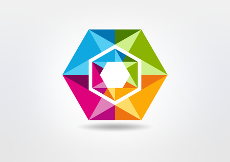 hexagon crystal diamond vector icon design Illustration