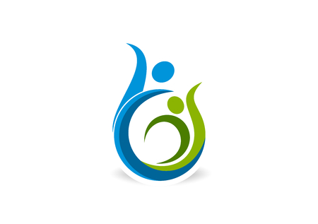 abstract success fit icon Vector, Healthy dance body  icon curl 矢量图像