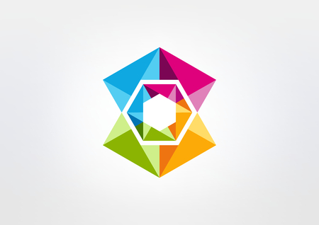 abstract crystal diamond vector icon design Illustration