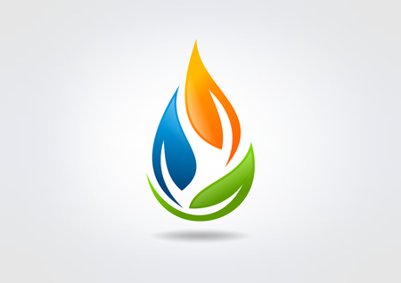leaf water drop: energy icon leaf, water drop design