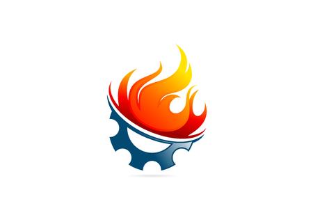 voiture de pompiers: engrenage feu flamme conception vecteur de logo Banque d'images
