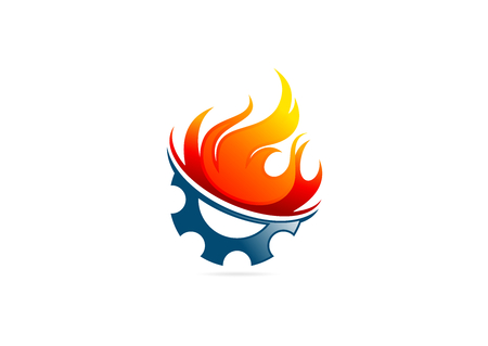 gear flame fire vector logo design Standard-Bild