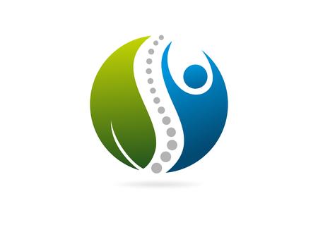 saludable logo: cuerpo humano natural vector logo médula diseño