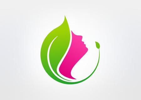 beauty women: belleza verde vector sana dise�o del logotipo Vectores