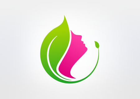 health woman: green  beauty healthy  vector logo design