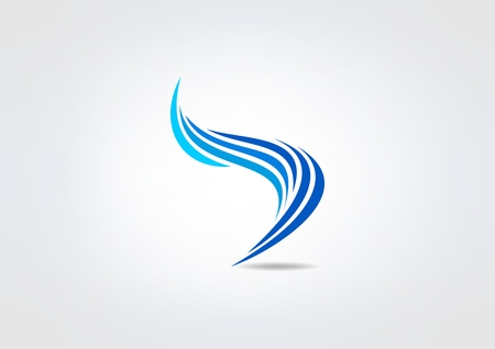 wings logos: blue swirl corporate  vector logo design