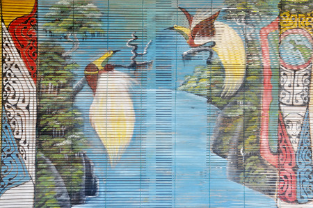 curtain wood  painted natural bird of paradise dancing 免版税图像