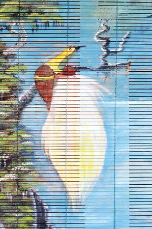 curtain wood  painted bird cendrawasih