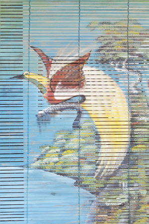 curtain wood  painted bird of paradise dancing
