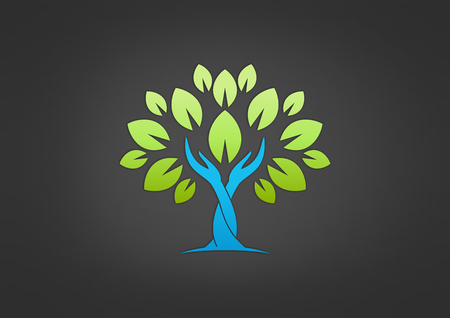 hand tree: tree hand care vector icon