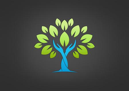 Niños ayudando: vector icon cuidado de las manos árbol