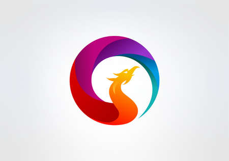 3d circle: phoenix vector logo design