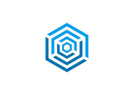 hexagon: abstract cube logo design symbol vector