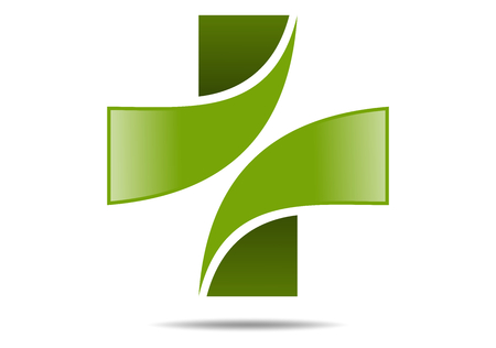 healthy person: green cross medical logo