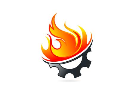 gear fire blame icon design 矢量图像