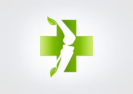 spinal adjustment: green cross pharmachy orthopedic icon, orthopaedic icon symbol