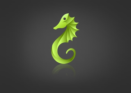 Green  seahorse vector icon design template
