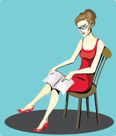 dissatisfaction: Female with an exercise book or newspaper showing something written in it.
