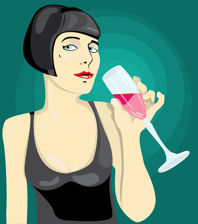 woman drinking wine: young woman drinking wine