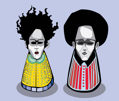 pepperbox: a couple of people resembling matryoshka - russian traditional doll