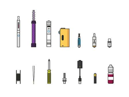 atomizer: Vaping colored icon set  on white background Illustration
